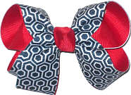 Navy and White Geometric Pattern over Red Medium Double Layer Bow
