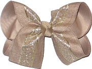 Khaki Canvas with Iridescent Glitter Stripe over Khaki Large Double Layer Bow