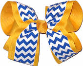 Yellow Gold and Century Blue Large Double Layer Bow