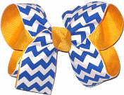 Yellow Gold and Century Blue Medium Double Layer Bow
