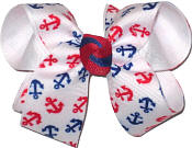 Red and Blue Mini Anchors over White Medium Double Layer Bow