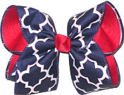 Navy and White over Red Grosgrain Large Double Layer Bow