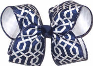 Navy and White Geometric Pattern over White Large Double Layer Bow