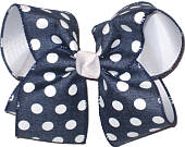 Navy Denim with White Dots over White Large Double Layer Bow