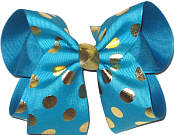 Turquoise with Metallic Gold Dots over Sapphire Large Double Layer Bow