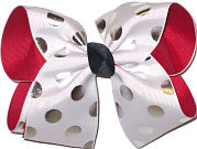 White with Silver Dots over Red Large Double Layer Bow