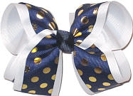 Navy with Metallic Gold Dots over White Large Double Layer Bow