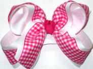 Shocking Pink and White over White Large Double Layer Bow