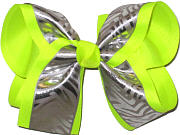 Neon Lime/Silver Large Double Layer Bow