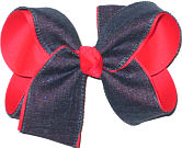 Dazzle Pink with Sparkle denim Large Double Layer Bow