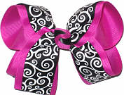 Black and White over Fushia Large Double Layer Bow