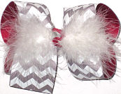 Gray and White Chevron over Red Grosgrain with White Feathers Large Double Layer Bow