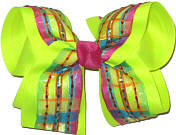 Multicolor Stripe over Neon Lime Large Double Layer Bow