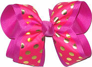 Shocking Pink with Metallic Gold Dots over Wild Berry Large Double Layer Bow