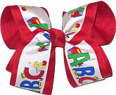 Primary Color ABC's Over Red Large Double Layer Bow