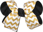 Medium Yellow Gold and White Chevron over Black School Bow