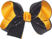 Medium Black Glitter over Yellow Gold School Bow