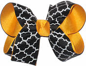 Medium Black and White over Yellow Gold School Bow