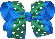 Emerald Green with White Dots over Blue Large Double Layer Bow