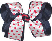 Red Stars on White over Navy Large Double Layer Bow