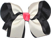 Black and Antique White With Watermelon Knot Large Double Layer Bow