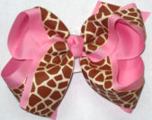 Taupe Giraffe Print over Pink Large Double Layer Bow