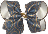 Denim with Antique Gold Meanders over Antique White Large Double Layer Bow