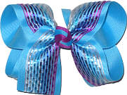 Multicolor Satin Stripe over Mystic Blue Large Double Layer Bow