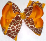 Taupe Giraffe Print over Yellow Gold Large Double Layer Bow