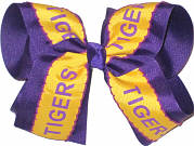 Yellow Gold with Printed Tigers over Purple Grosgrain Large Double Layer Bow