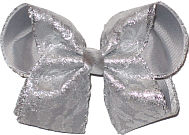 Silver Lace over Gray Grosgrain Large Double Layer Bow