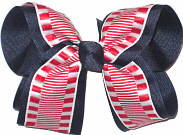 Red and White over Navy Large Double Layer Bow
