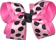 Light Pink with Black Dots over Hot Pink Large Double Layer Bow