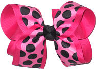 Hot Pink with Black Dots over Shocking Pink Large Double Layer Bow