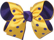 Yellow Gold with Purple Dots over Purple Grosgrain Medium Double Layer Bow