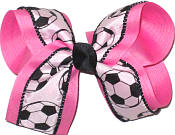 Hot Pink Soccer Large Double Layer Bow