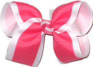 Watermelon and White Large Double Layer Bow