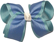 Sea Mist and Antique Blue With Light Ivory Knot Large Double Layer Bow