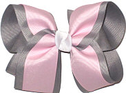 Gray and Light Pink With White Knot Large Double Layer Bow