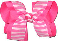 Hot Pink and White over Hot Pink Large Double Layer Bow