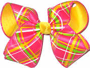 Pink Maize White Green over Maize Large Double Layer Bow