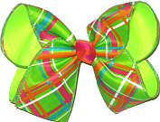 Green Orange Pink White over Neon Lime Large Double Layer Bow