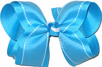 Turquoise with White Saddle Stitch Large Double Layer Bow