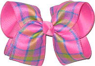 Pink Green Blue over Hot Pink Large Double Layer Bow