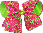 Shocking Pink and Neon Green over Neon Green Large Double Layer Bow