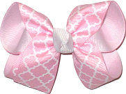 Pink and White over Pink Medium Double Layer Bow
