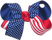 Red White and Blue Stars and Stripes Medium Double Layer Bow