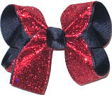 Navy with Red Glitter Medium Double Layer Bow