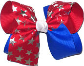 Large Red White and Blue with Silver Stars Large Double Layer Bow