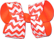 Neon Orange and White Large Double Layer Bow